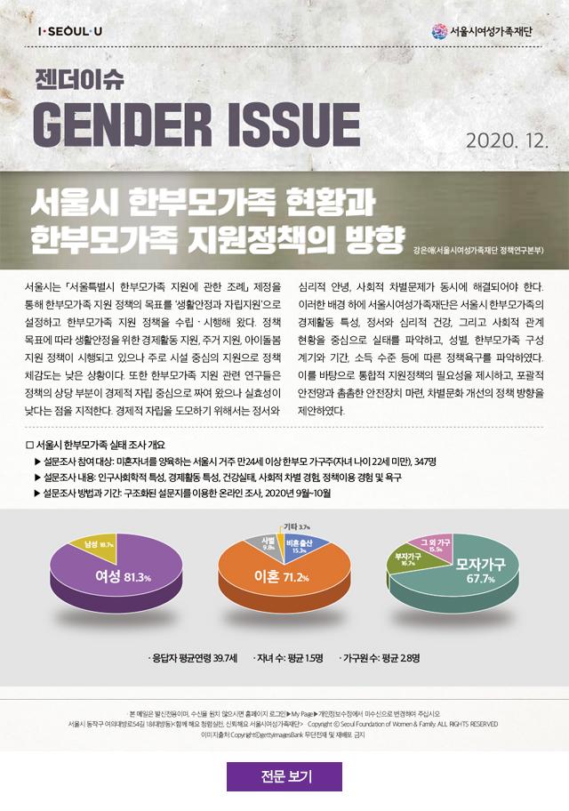 서울시 한부모가족 현황과 한부모가족 지원정책의 방향